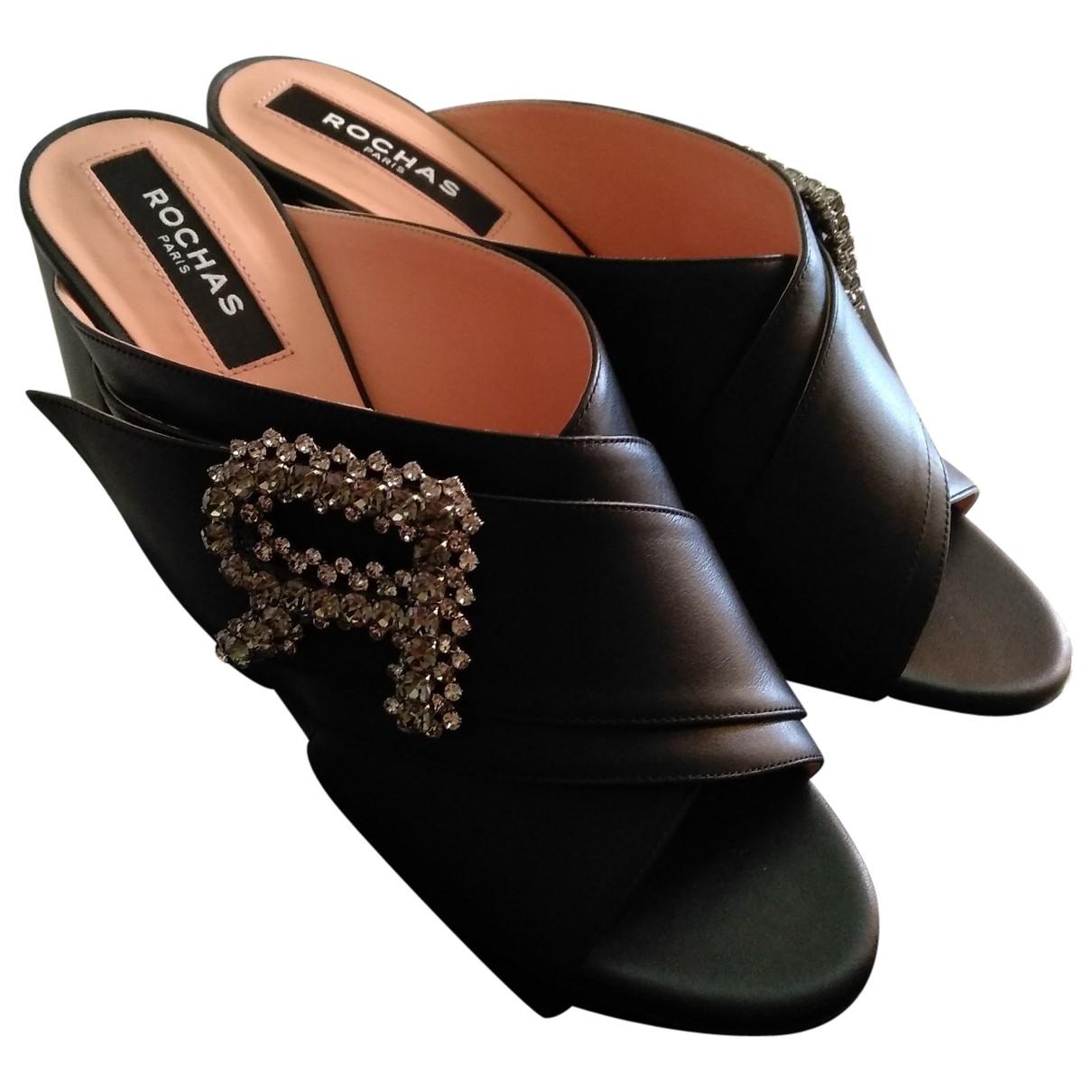 Rochas \N Black Leather Sandals for Women 40 EU