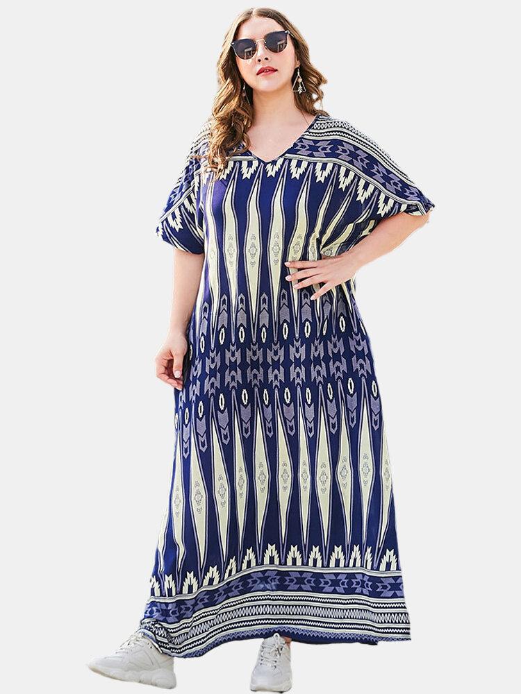 Ethnic Print V-neck Loose Plus Size Maxi Dress