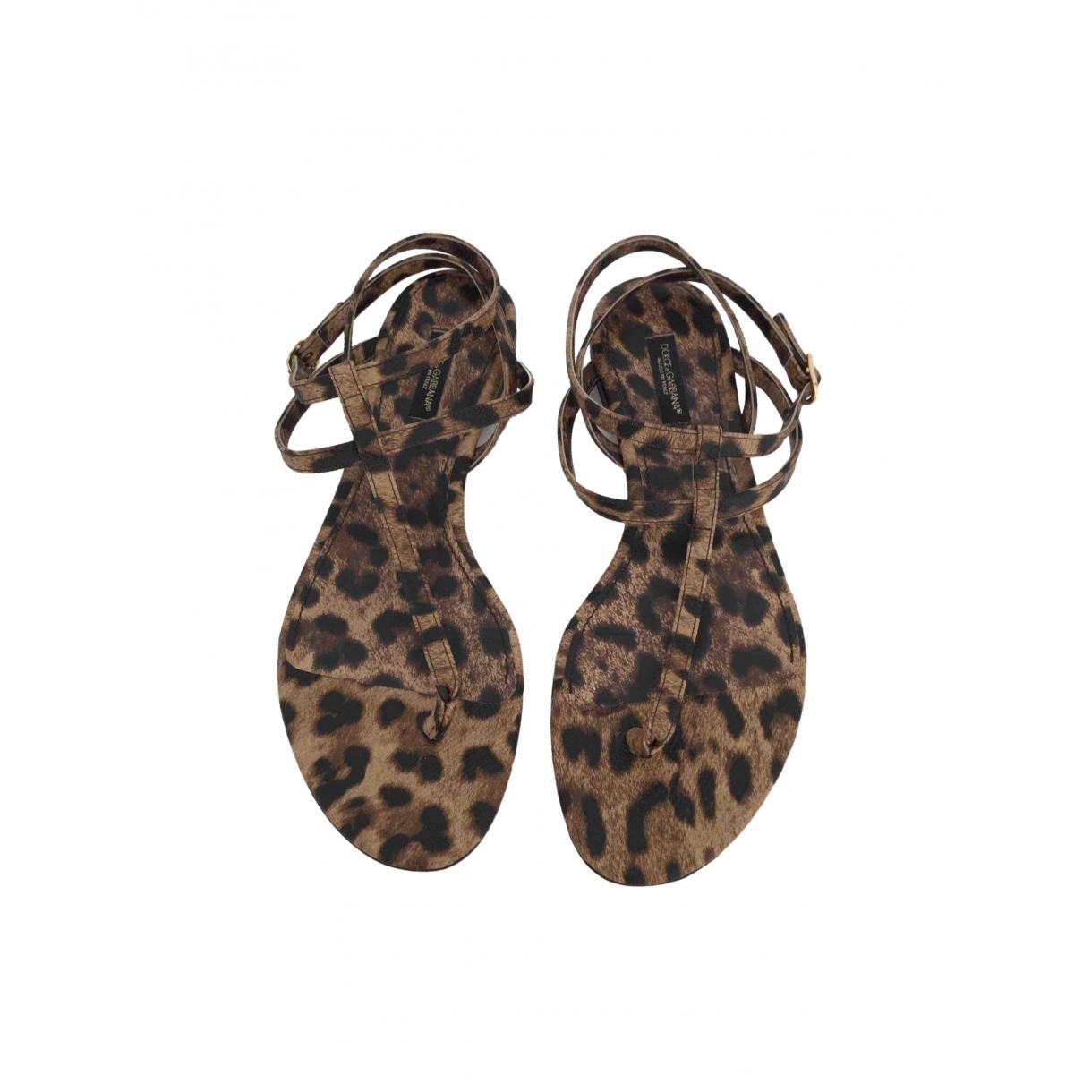 Dolce & Gabbana \N Beige Leather Sandals for Women 38 EU