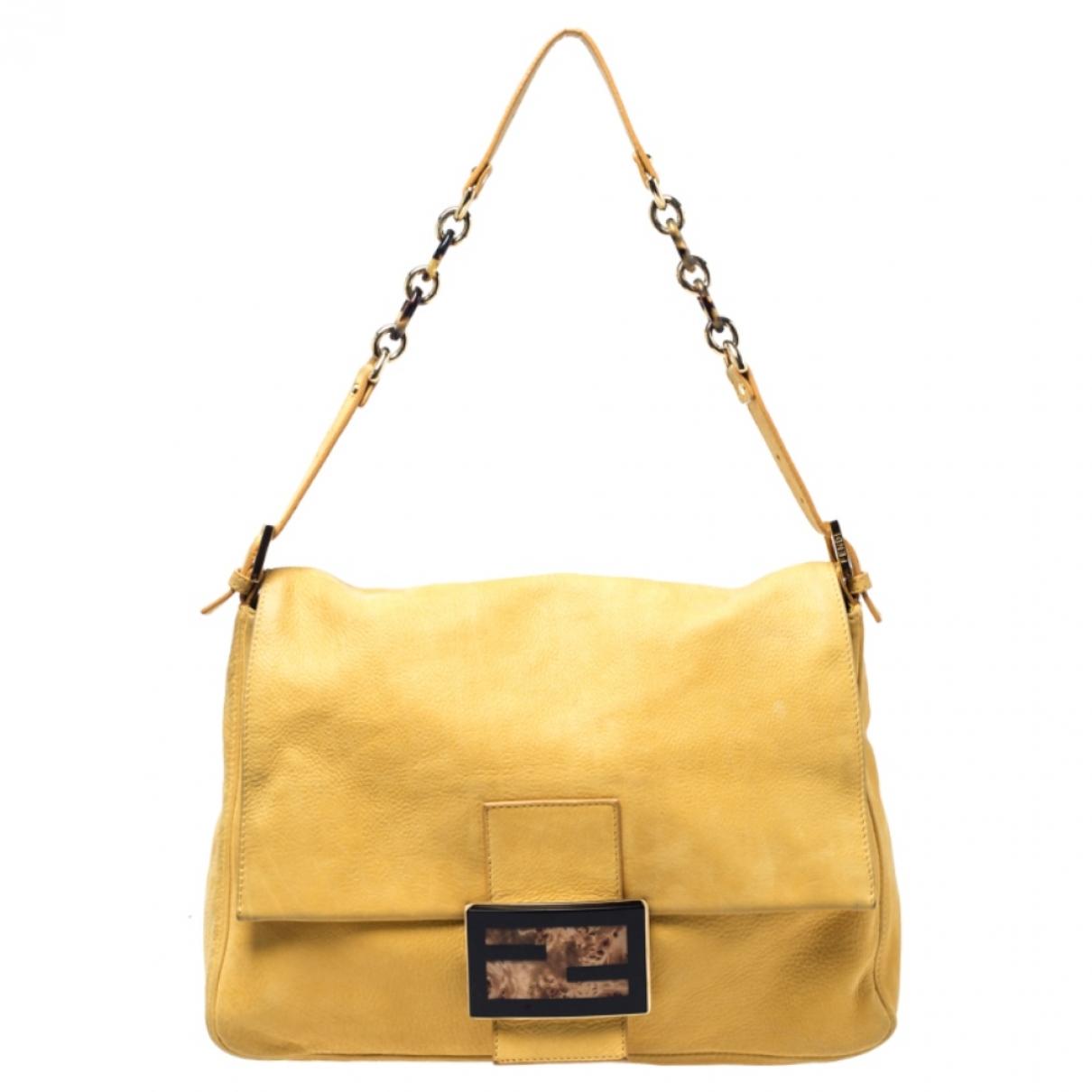 Fendi Mamma Baguette  Handtasche in  Gelb Leder