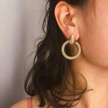 Braided Design Metal Hoop Earrings 1pc