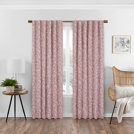 Eclipse Nora Botanical Blackout Back-Tab Single Curtain Panel, One Size , Pink