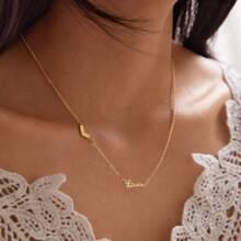 1 pieza collar con diseño de corazon y letra
