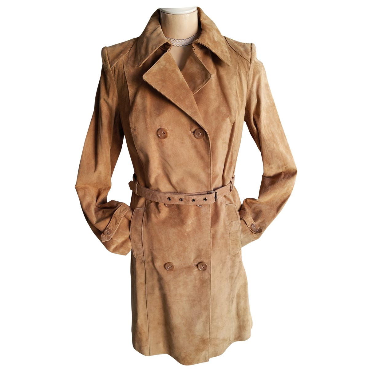 Non Signé / Unsigned \N Camel Suede Trench coat for Women 10 UK