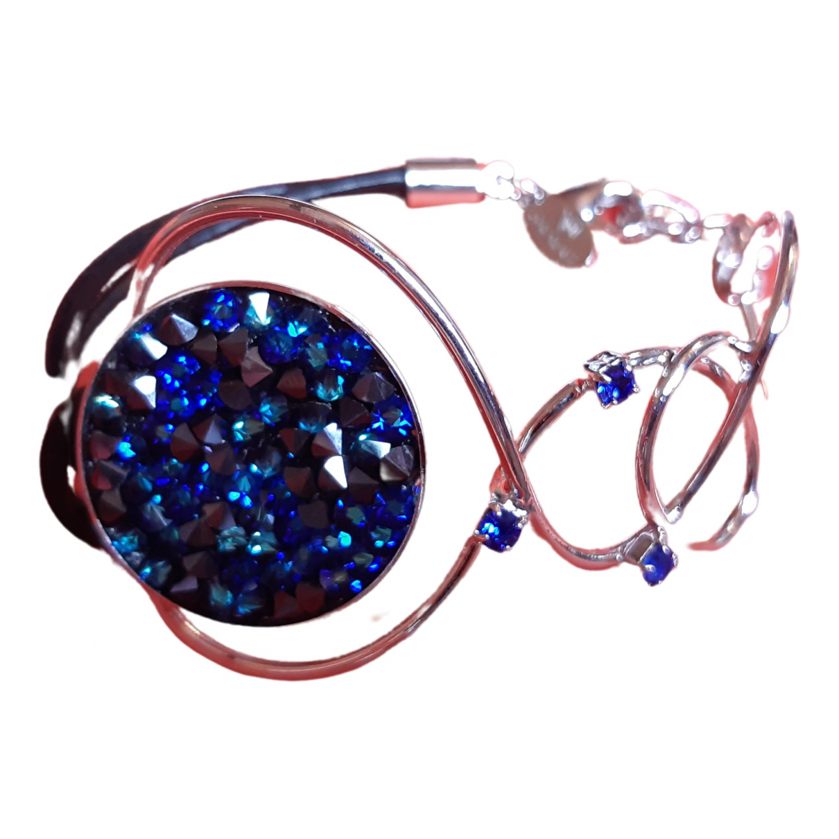 Non Signe / Unsigned Art Deco Armband in  Blau Metall