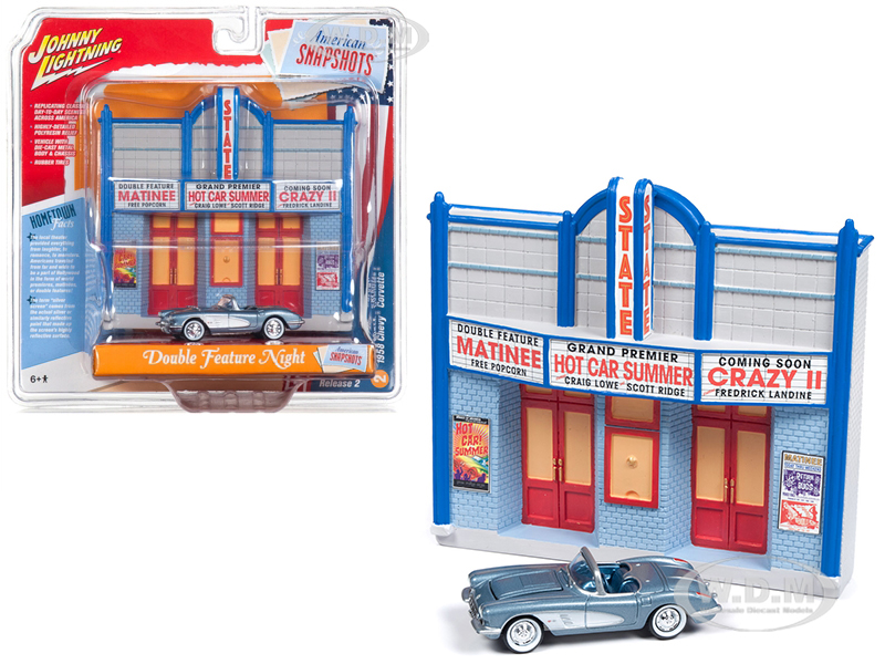 1958 Chevrolet Corvette Convertible Blue and Resin Movie Theater Facade