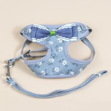 1pc Bow Decor Floral Dog Harness & 1pc Dog Leash