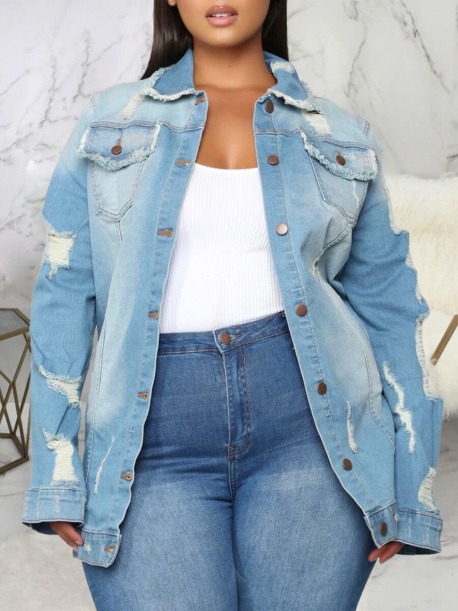 LW Lovely Casual Broken Holes Button Design Blue Plus Size Denim Jacket