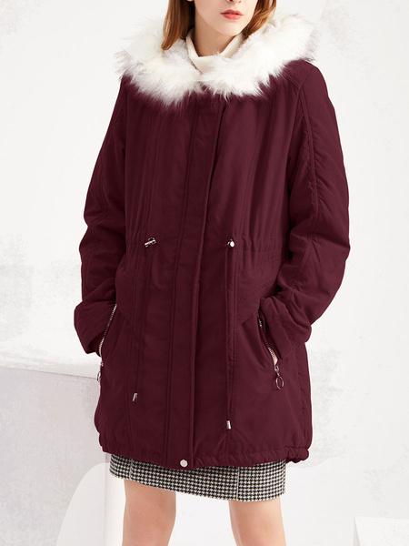 Milanoo Escudo rojo de invierno imitacion de las mujeres de piel con capucha de manga larga con cordon Parka Abrigos