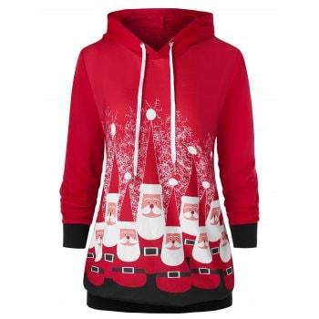 Plus Size Drawstring Santa Claus Print Christmas Hoodie