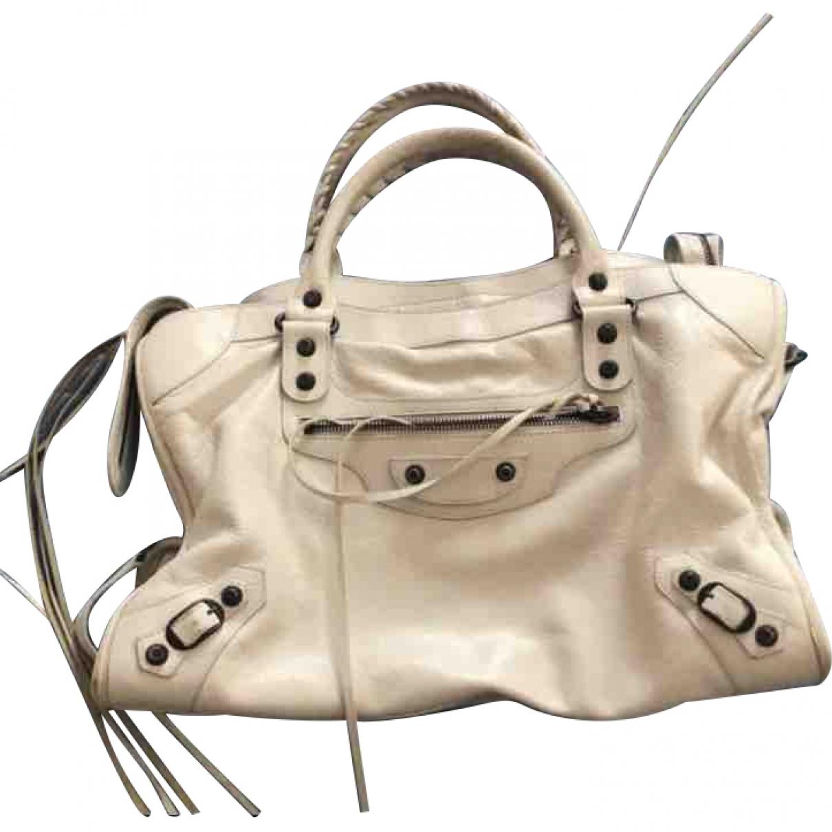 Balenciaga City Handtasche in  Weiss Leder