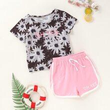 Toddler Girls Floral Print Tee & Drawstring Dolphin Shorts