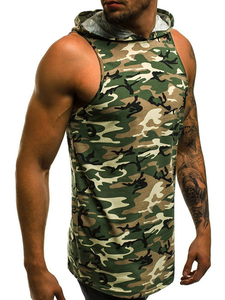 Milanoo Men Sleeveless Hoodie Grey Camo Printed Slim Fit Tank Tops