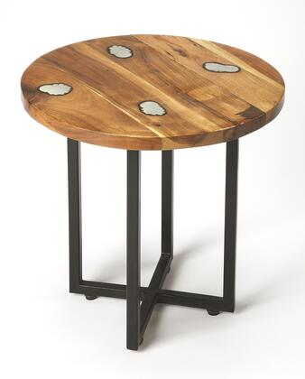 Greer Collection 5282330 End Table with Modern Style  Round Shape and Acacia Wood in Industrial Chic