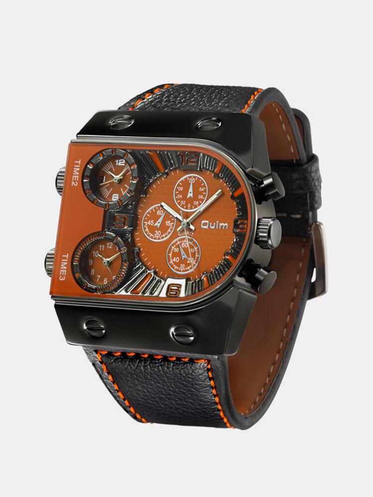 Vintage Double Layer Dial Men Watch Multi-Time Zone Luminous Quartz Watch
