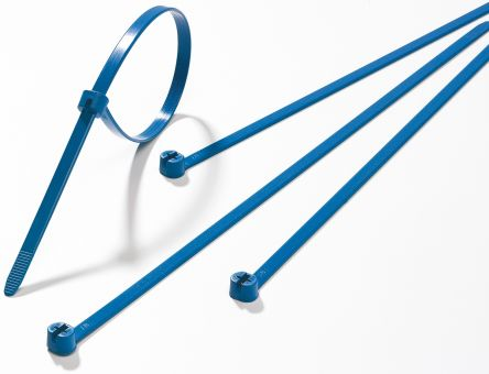 Thomas & Betts , Ty-Rap Series Blue Metal Detectable Cable Tie, 139.7mm x 3.56 mm