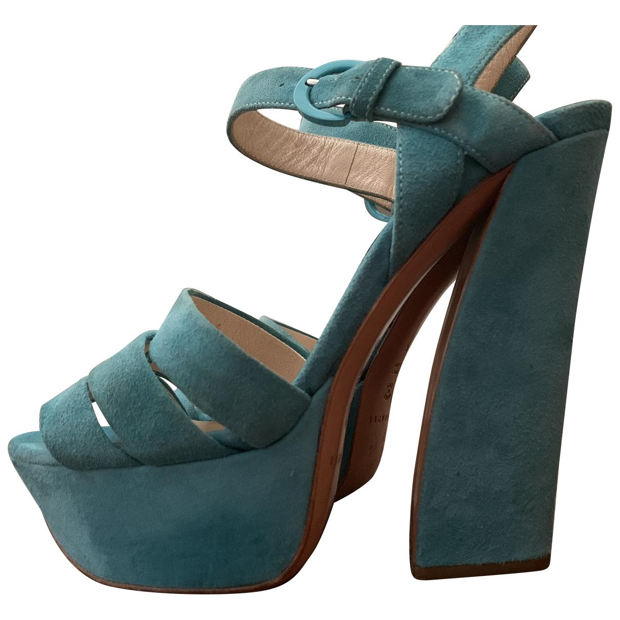 Casadei - Sandales   pour femme en suede - turquoise
