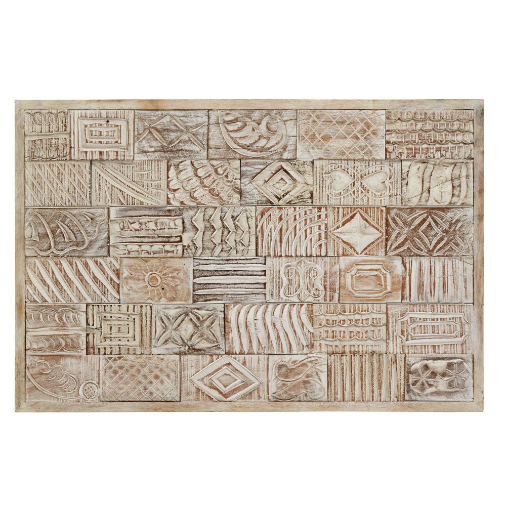 Wanddeko aus geschnitztem Mangoholz, geweisst 60x90
