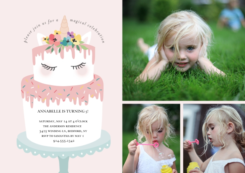 Kids Birthday Party 5x7 Cards, Premium Cardstock 120lb with Scalloped Corners, Card & Stationery -Birthday Party Unicorn Cake Invite by Tumbalina