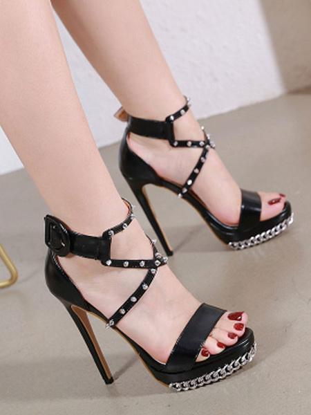 Milanoo Sandalias de tacon para mujer, cadena con punta, tacon de aguja negro, punta abierta, plataforma cruzada, zapatos sexis