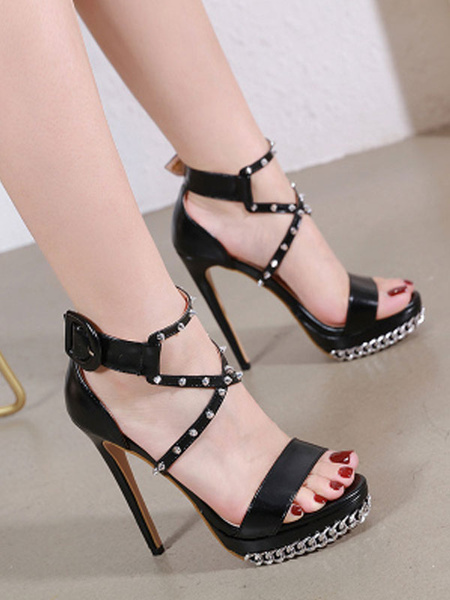 Milanoo Women Heel Sandal Chain Spike Black Stiletto Heel Open Toe Criss Cross Platform Sexy Shoes