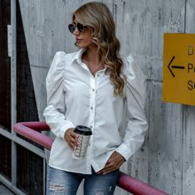 Solid Gigot Sleeve Blouse