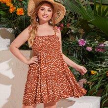 Plus Dalmatian Print Shirred Bodice Knotted Cami Dress
