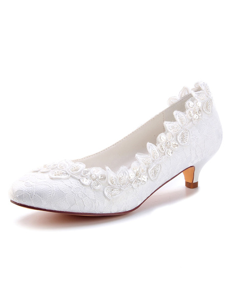 Milanoo Lace Wedding Shoes Ivory Round Toe Flowers Beaded Kitten Heel Bridal Shoes Mother Shoes