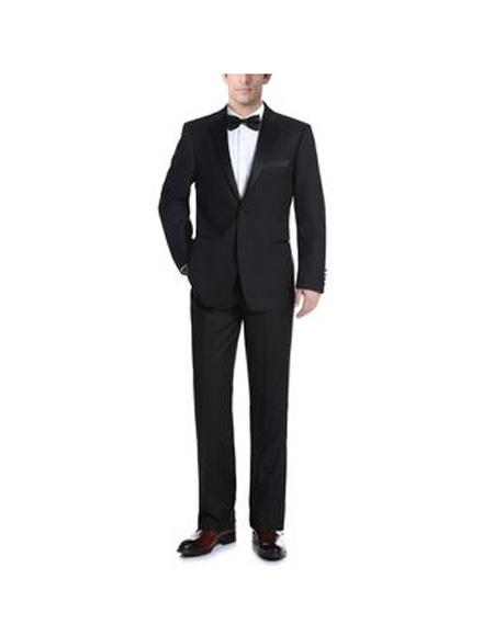 Mens Polyester/Viscose Classic Fit Two Piece Ribbon Tuxedo In Black