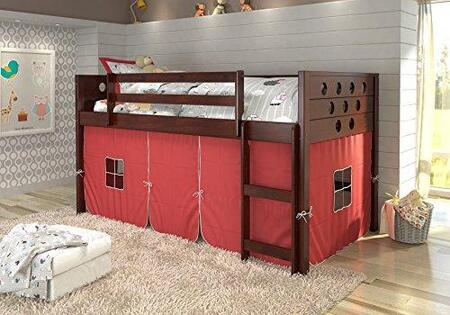 780ATCPR 79 Low Loft with Built in Ladder  Red Tent  Circle Cut Out Design Headboard and Footboard in Dark