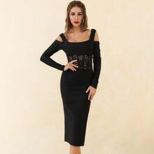 Lucra schulterfreies Kleid mit transparentem Spitzen Einsatz