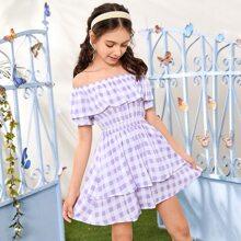 Schulterfreies Kleid mit Blumen Muster und Karo Muster