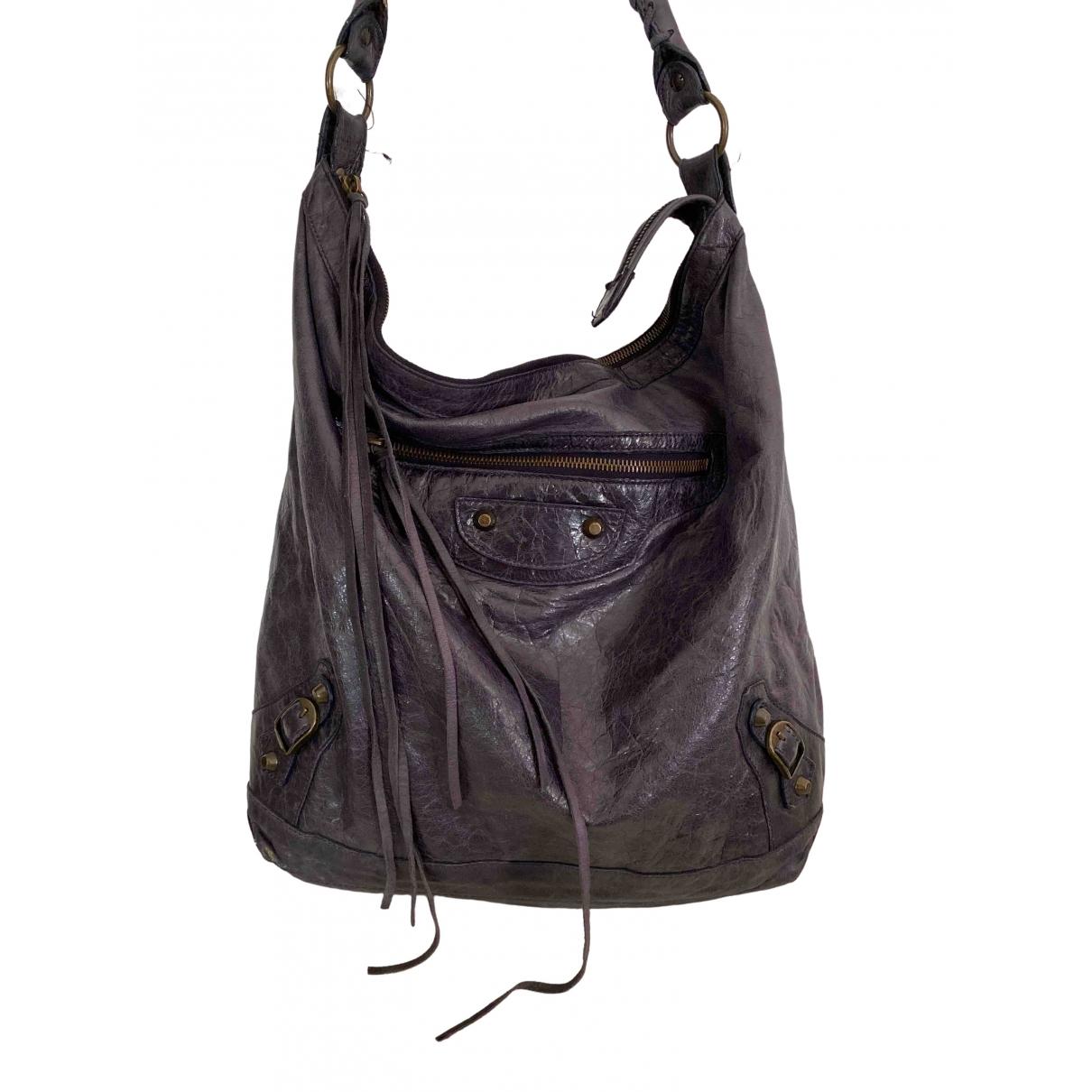 Balenciaga Day  Handtasche in  Lila Leder