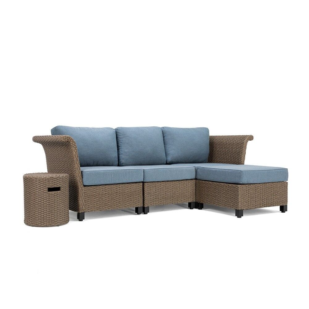 La-Z-Boy Nolin 3pc Weathered Brown Sectional Set with 1 Side Table and 1 Ottoman, Sunbrella Spectrum Denim Fabric (Weathered Brown)