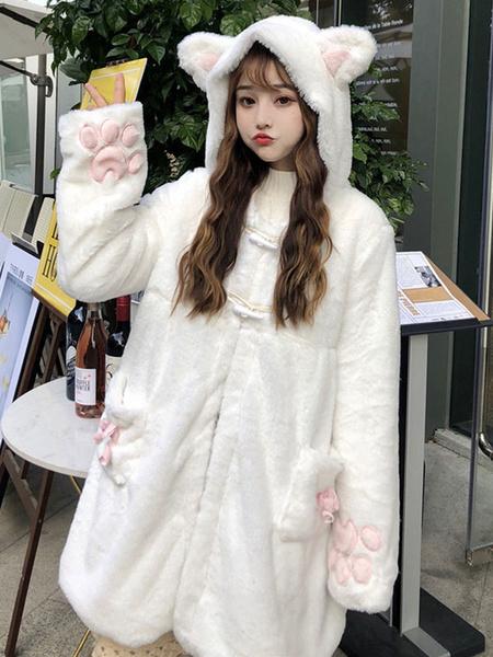Milanoo Academic Sweet Lolita Coats White Polyester Overcoat Fall Lolita Outwears Overcoat
