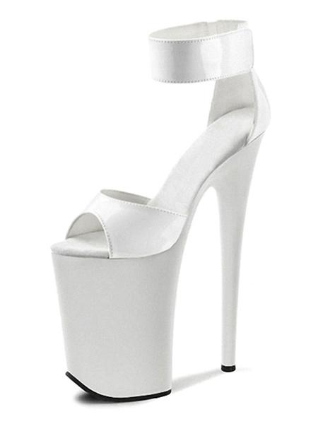 Milanoo Sandalias sexy para mujer Plataforma de correa de monje peep toe de cuero blanco PU 9.1 '' Zapatos sexy