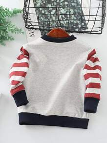 Toddler Boys Striped Cartoon Graphic Sweatshirt