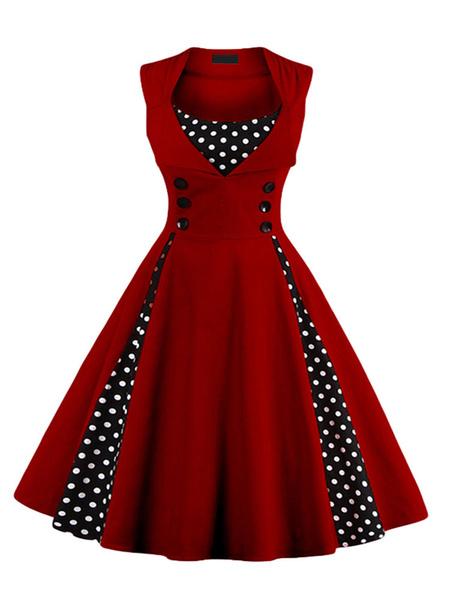 Milanoo Vestido de la vendimia 1950 rosa de la mujer sin mangas de cuello de la joya vestido de Rockabilly