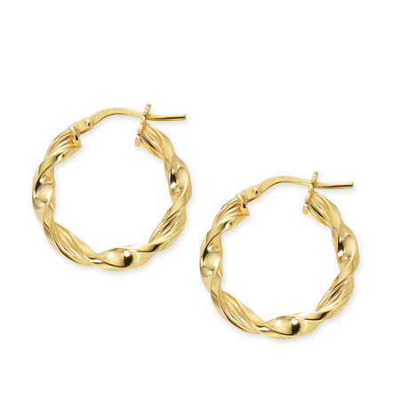 Made in Italy 24K Gold Over Silver Sterling Silver 20mm Hoop Earrings, One Size , No Color Family