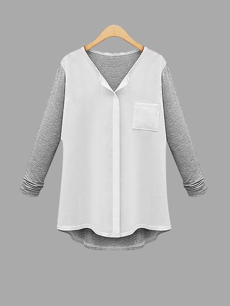 Yoins Plus Size White & Grey Button Up Shirt