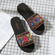 Sequin & Embroidered Detail Slides