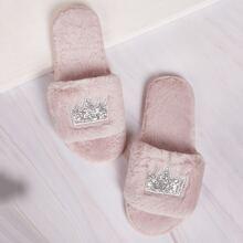 Crown & Glitter Detail Fluffy Slippers