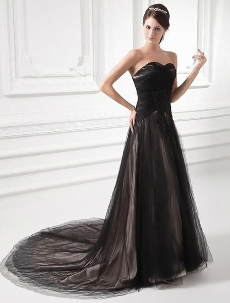 Milanoo Black Wedding Dress Lace Beading Court Train Sweetheart Evening Dress