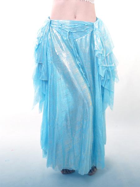 Milanoo Disfraz Halloween Falda de danza de vientre de seda elastica azul  Halloween