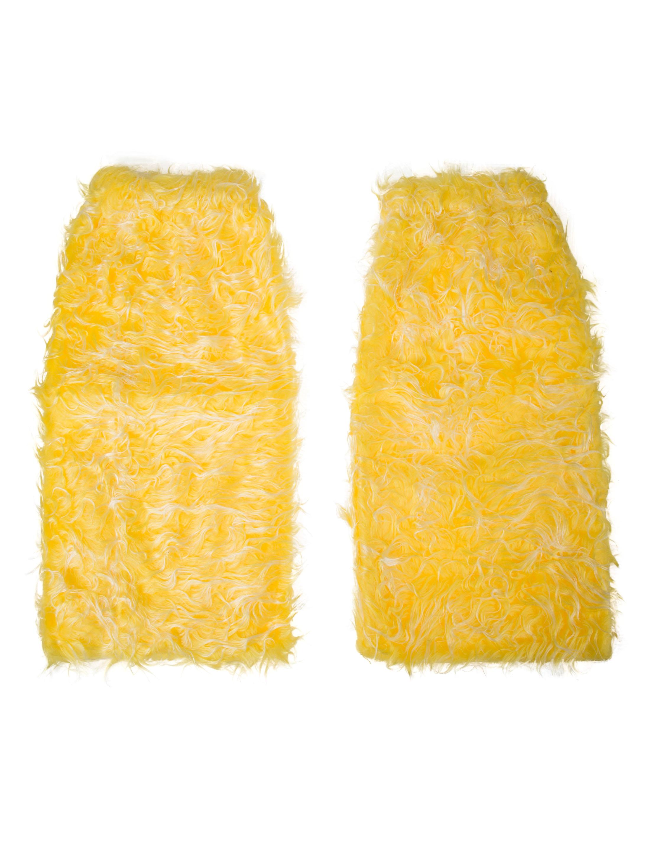 Beinwaermer Pluesch gelb