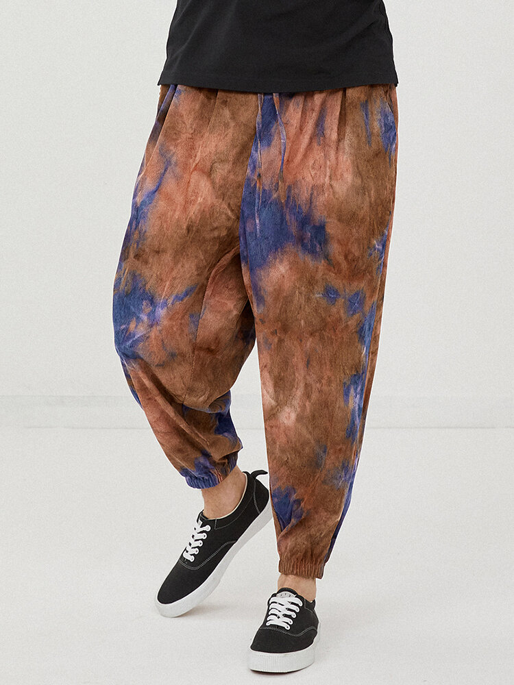 Mens Tie-Dye Corduroy Designer Loose Drawstring Waist Beam Feet Pants
