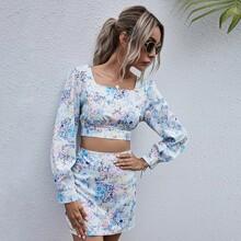 Allover Floral Print Zip Back Blouse & Skirt