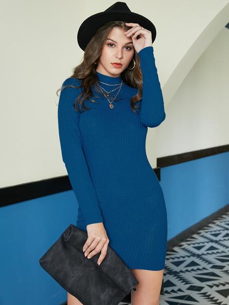 YOINS Blue Cut Out Backless Design High Neck Knit Dress