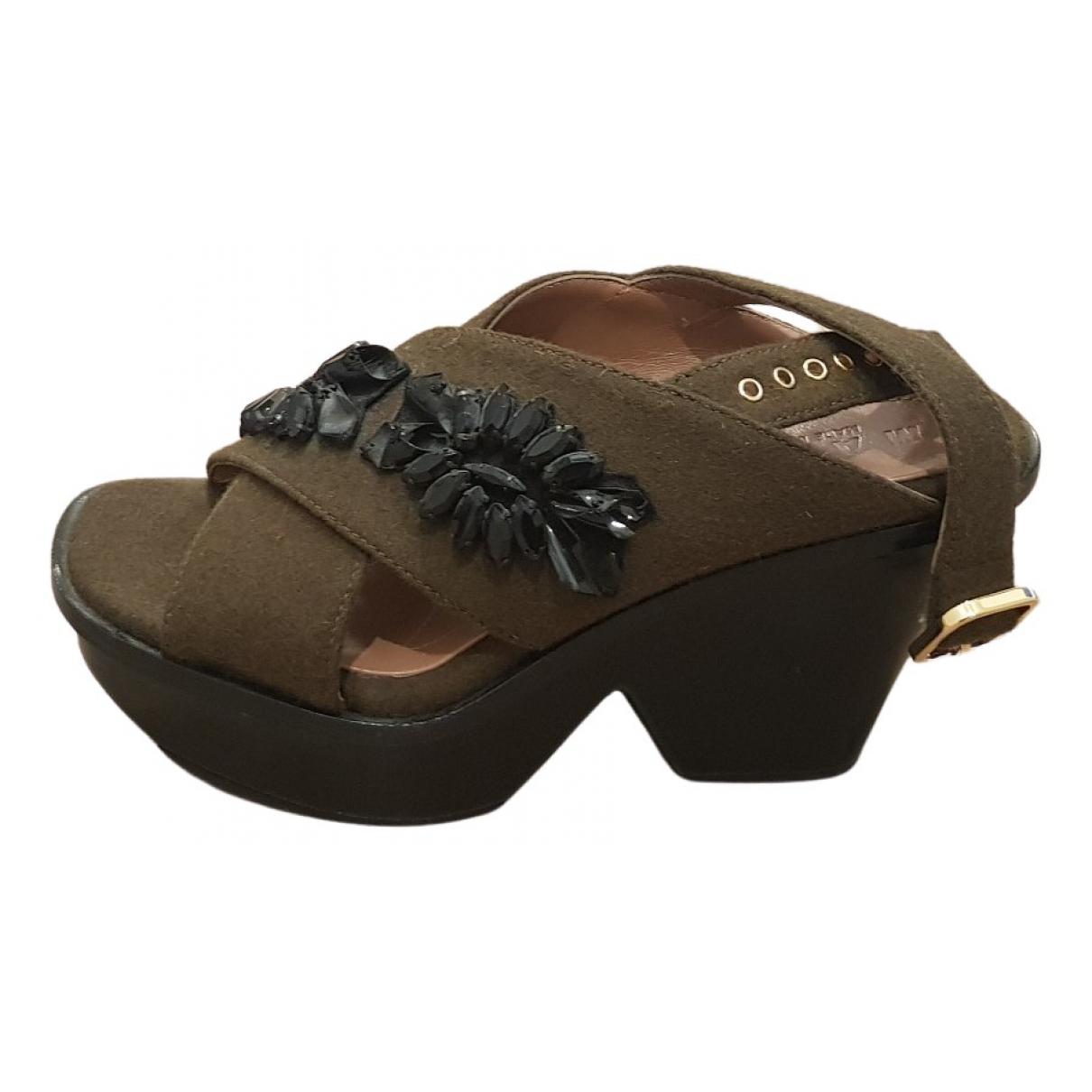 Marni N Khaki Glitter Sandals for Women 37 EU