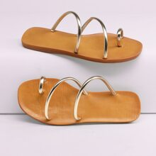 Metallic Toe Ring Strappy Flat Slide Sandals